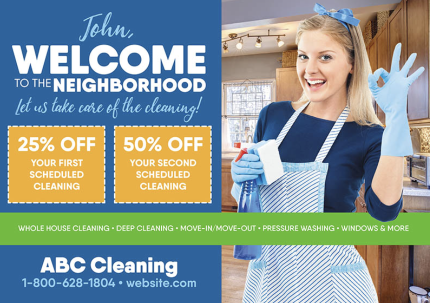 house cleaning postcard